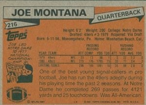 1981 Topps Joe Montana Rookie Card #216 Back