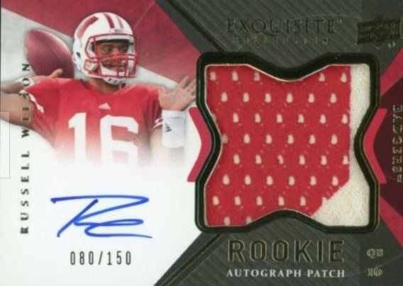 2012 Upper Deck Exquisite Russell Wilson Auto Patch RC #127