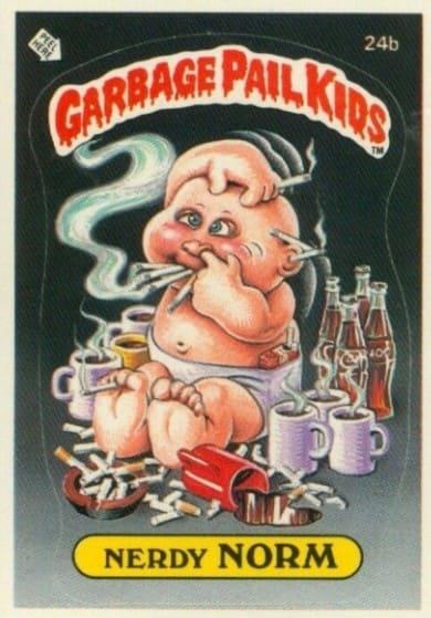 1985 Garbage Pail Kids #24b Nerdy Norm