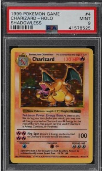 1999 Pokemon Game Charizard Holo Shadowless #4