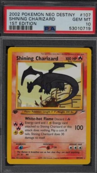 2002 Pokemon Neo Destiny Shining Charizard 1st Edition #107