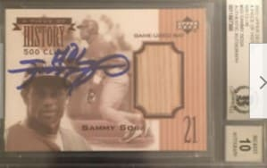 2003 Upper Deck A Piece of History Sammy Sosa 500HR Game Used Auto