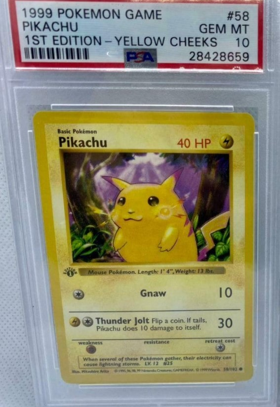 1999 Pikachu 1st Edition Yellow Cheeks