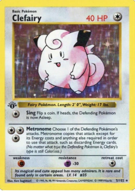 1999 Pokemon First Edition Clefairy #5