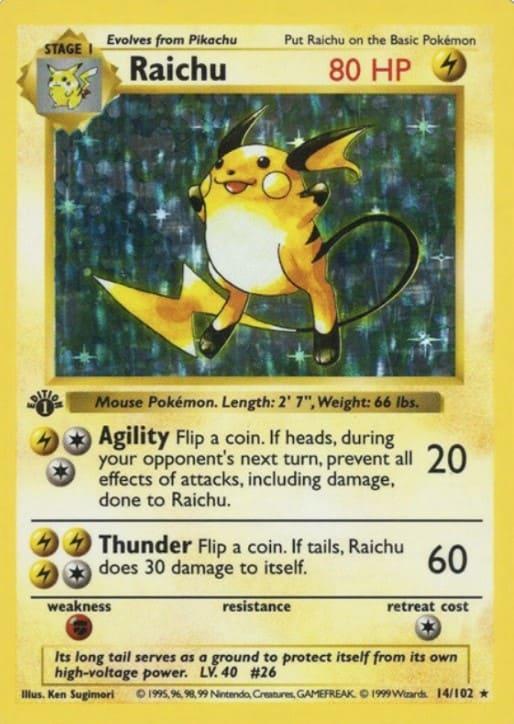1999 Pokemon First Edition Raichu #14