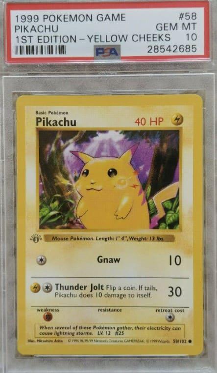 1999 Pokemon Game Pikachu First Edition - Yellow Cheeks #58