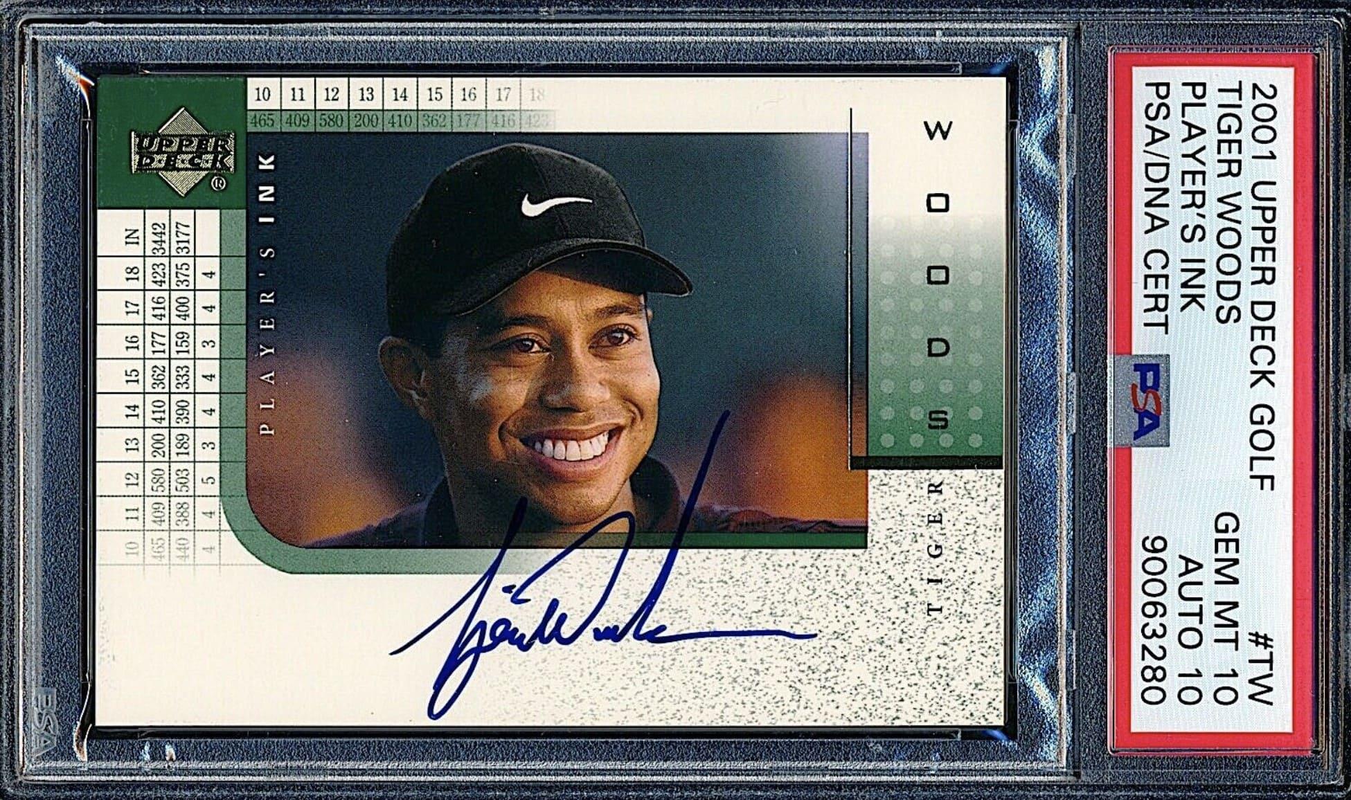 2001 Upper Deck SP Player's Ink Tiger Woods Auto RC #TW