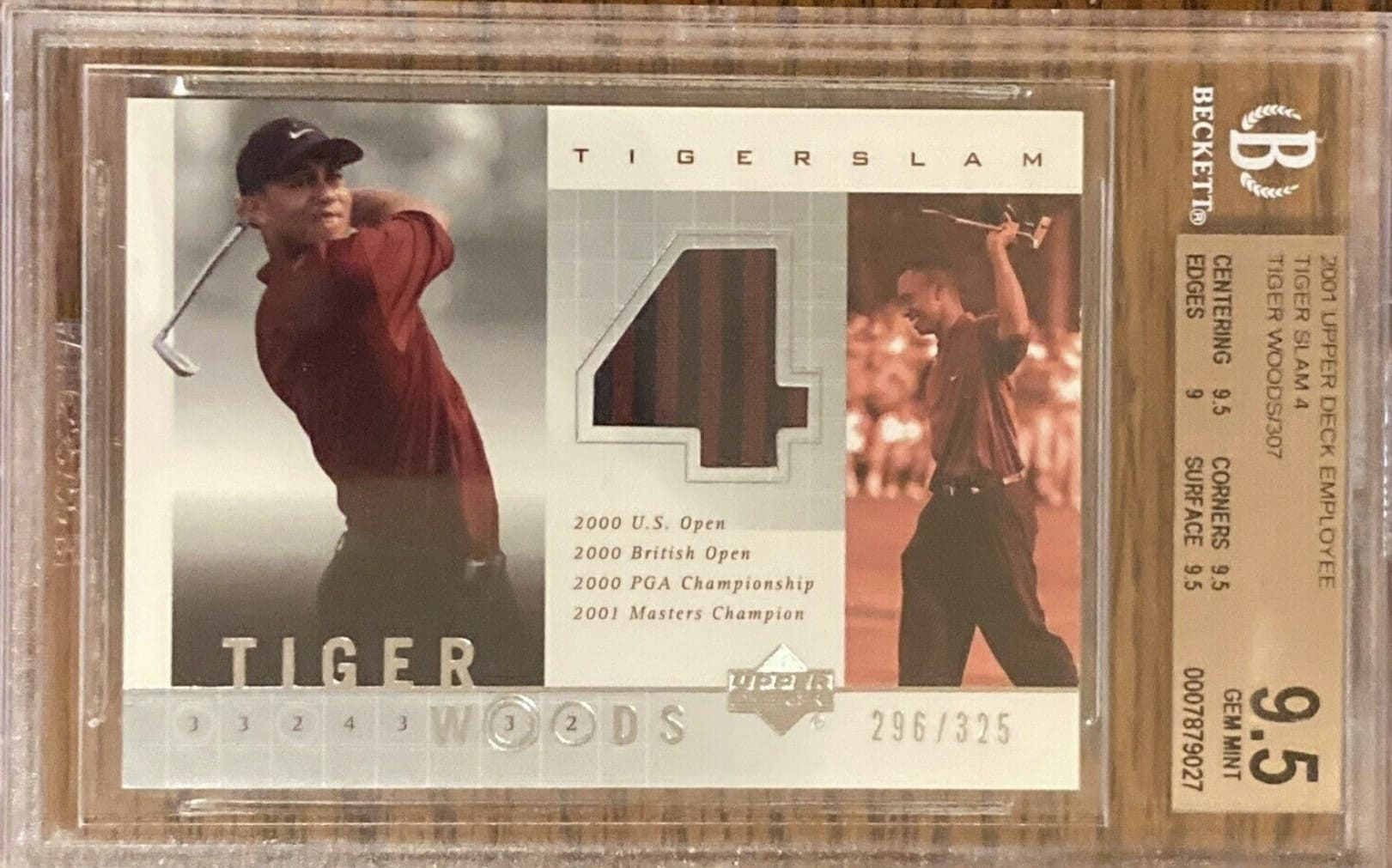 2001 Upper Deck Tiger Woods Employee Card Tiger Slam 4