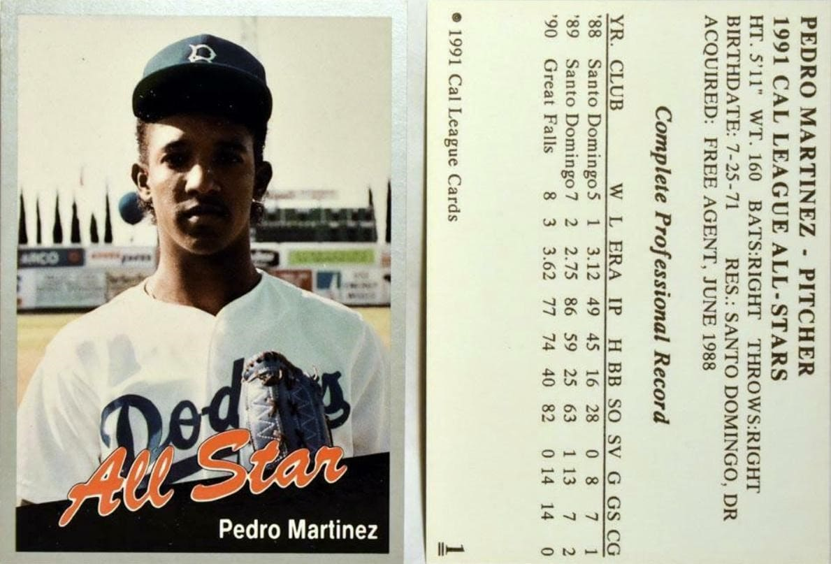 1991 Cal League Dodgers All Stars Pedro Martinez #1